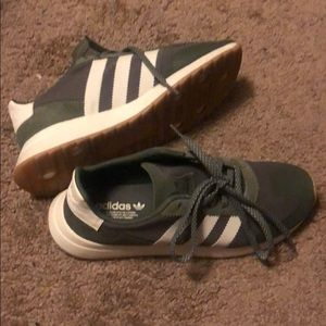 Olive green and white adidas sneakers womens 8.5
